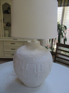Large White Stucco Lamps