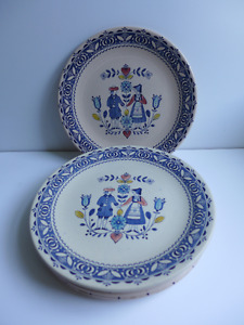 Hearts and Flowers Dishes - 6 dinner plates (lot 1)