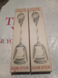Silver jubilee sugar spoons and 4 Royals Radio Times