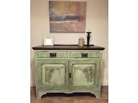 Elegant antique hand painted, fully refurbished sideboard