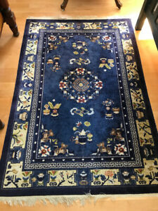 Chinese blue, hand knotted, silk carpet