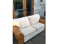DOUBLE SOFA BED WITH CREAM FABRIC CUSHIONS. HARDLY USED. EX CON £75