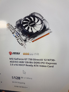 pc video card MSI geforce gt 730 4gb never overclocked
