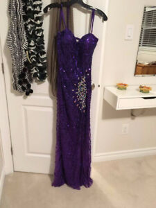Strapless Purple Sparkly Dress