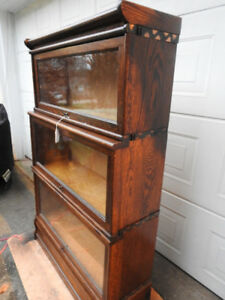 antique barrister bookcase 3 level step back restored tall cases