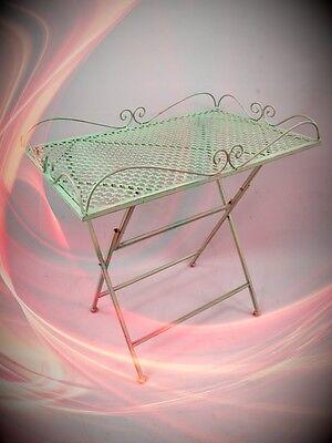 Tisch eckig Eisen grün L.60x40 Eisen Garten Balkon Terrassentisch vintag Antik