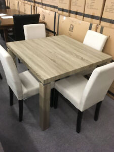 Condo Size Dining Table with 4 Upholstered Chairs