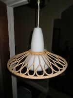 Vintage 80's Funky Ceiling Fixture , Wicker shade on cased glass