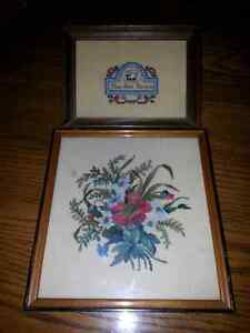 2 VINTAGE NEEDLE POINT PICTURES $5.00 FOR BOTH Windsor Region Ontario image 1