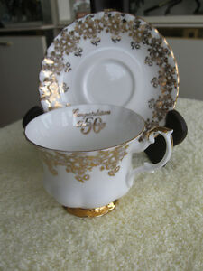 "VINTAGE ""50th WEDDING ANNIVERSARY"" BONE CHINA CUP & SAUCER"