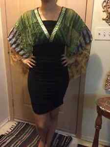 Green Dress with Stretchy Material (fits a lot of sizes)