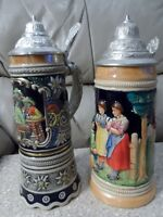 Vintage German Made Steins--One Musical, One Not