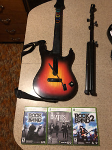 Xbox 360: Rockband Guitar and 3 games