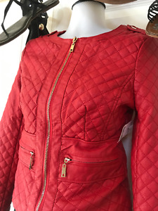 Le Chateau Red faux leather Jacket size small new with tags