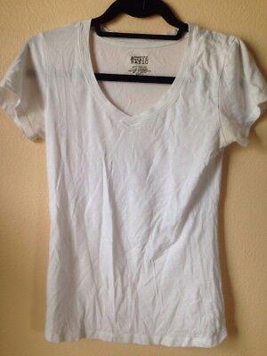 Active Basic Junior Girls Active White V Neck T-shirt Medium Summer Layer Shirt ()