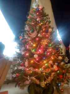 Fully decorated Christmas tree for sale