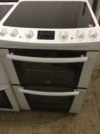 Zanussi white Electric double Oven ceramic Cooker