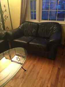 Premium leather couch and love seat with a glass table Regina Regina Area image 3