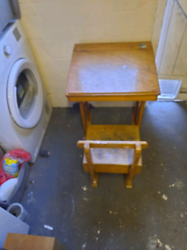 Old child desk and chair with storage
