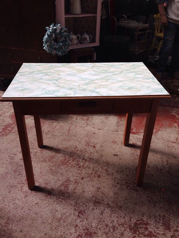 VINTAGE RETRO SMALL WOODEN KITCHEN TABLE MARBLE EFFECT TOP WITH DRAWER In