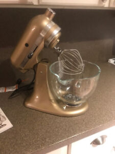 New in box Artisan champagne gold kitchen aid mixer