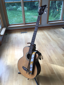 Jay Turser JTB-D100 Acoustic Bass + Fender Strap + Patch Cord
