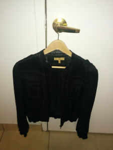 Woman black leather jacket size M