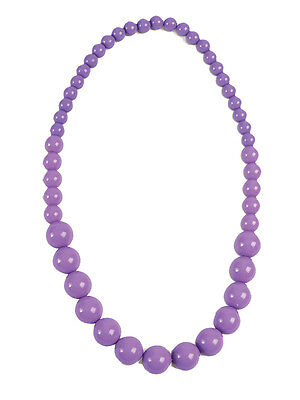 Fancy Dress Plastic Beads Lavender Necklace 70's 80's Pop Art Accessory Purple