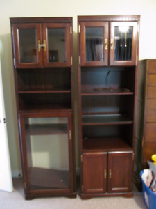TWO Matching Display cabinets/Shelves with glass doors Brass HW