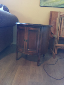 French provincial end table with doors