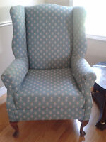 2 Beautiful Wing Chairs and Ottoman