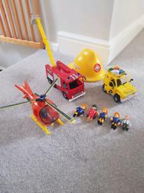 Fireman sam bundle fire engine truck figures 4 wheel drive helicopter