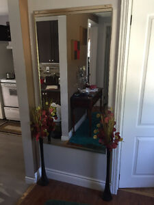Tall gold brushed frame mirror and black glass vases Cambridge Kitchener Area image 1