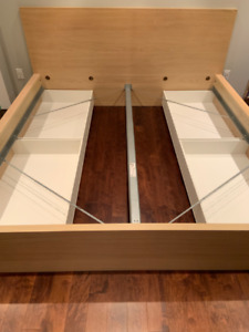 King MALM bed with 4 storage boxes - no slats - $150