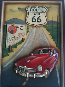 """Route 66 3D Carved Wood Painting 15"""" x 21"""" for a exc Kitchener / Waterloo Kitchener Area image 1"""