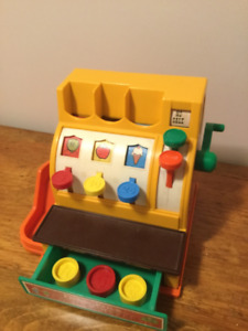 Vintage 1980's Fisher Price Cash Register with Coins