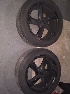 Like new black Rims with tires brand ART