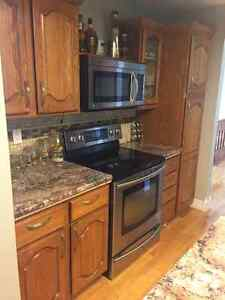 Oak cabinets with counter tops