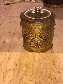Vintage Brass embossed Coal Bucket /Scuttle - Tavern scene