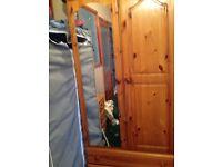 Solid pine 2 door wardrobe