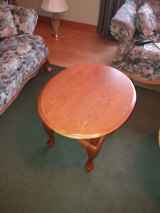 Queen Ann Style Oak Colour Coffee Table and Two End Tables