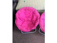 2 pink children garden chairs