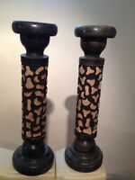 2x Porte chandelle en bois, wooden candle holder