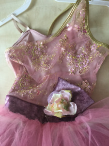 Ballet or lyrical dance costume by Curtain Call, pink and gold
