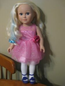 "18"" MY LIFE DOLL WITH BLUE HAIR PINK DRESS like american girl"