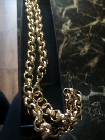 Gold filled luxury 12mm belcher chain new 24inch