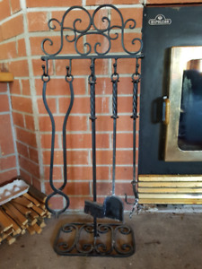 Fireplace tool set and wood carrier/holder