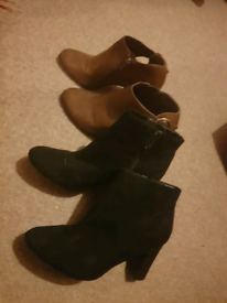 2 Pairs of Boots Black Suede and Tan Leather women's ladies shoes boot