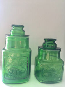 Vintage 1960's Wheaton NJ Emerald Green Glass 2 Canister Set