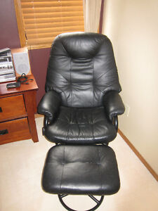 2 - Palliser Black Leather Chairs and Ottomans